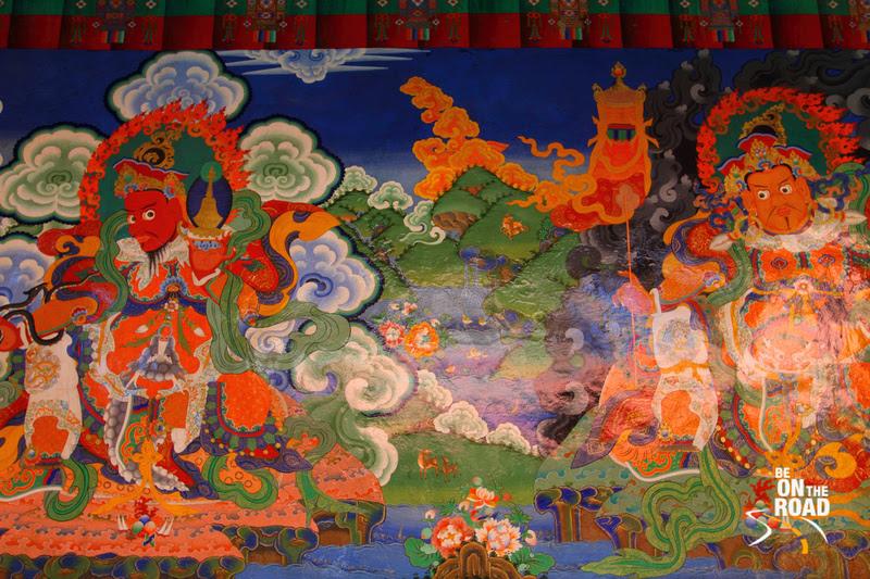 Colourful Murals inside the Lamayuru Monastery