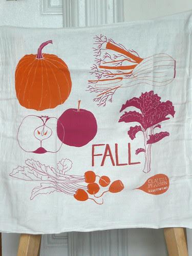 Fall tea towel hanging half
