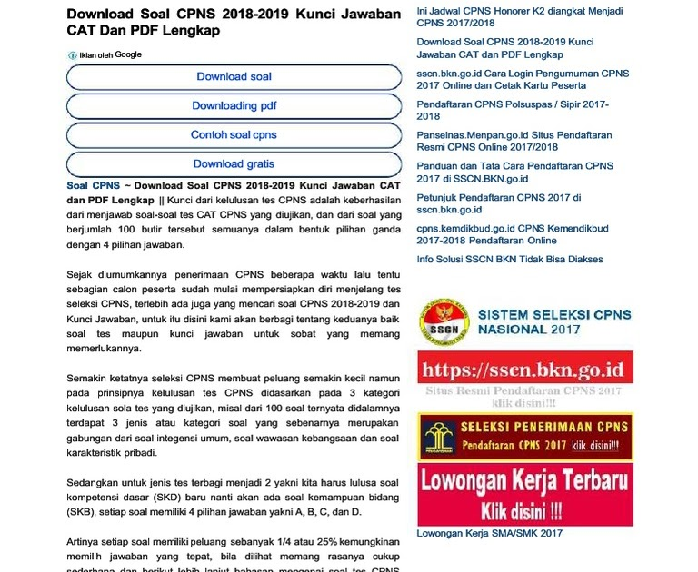 Soal Tes Cpns 2017 Dan Kunci Jawaban Pdf Jawabanku Id