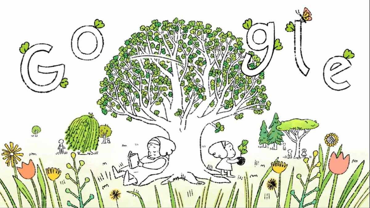 The Earth Day 2021 Google Doodle video aims to encourage more people to plant trees. Image: Google/Sophie Diao