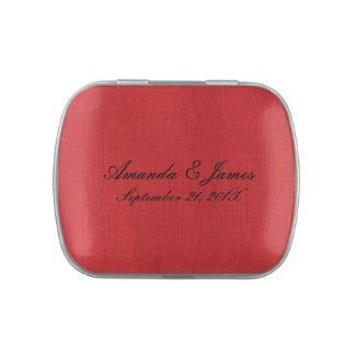 Red Linen Fabric Texture Candy Tin
