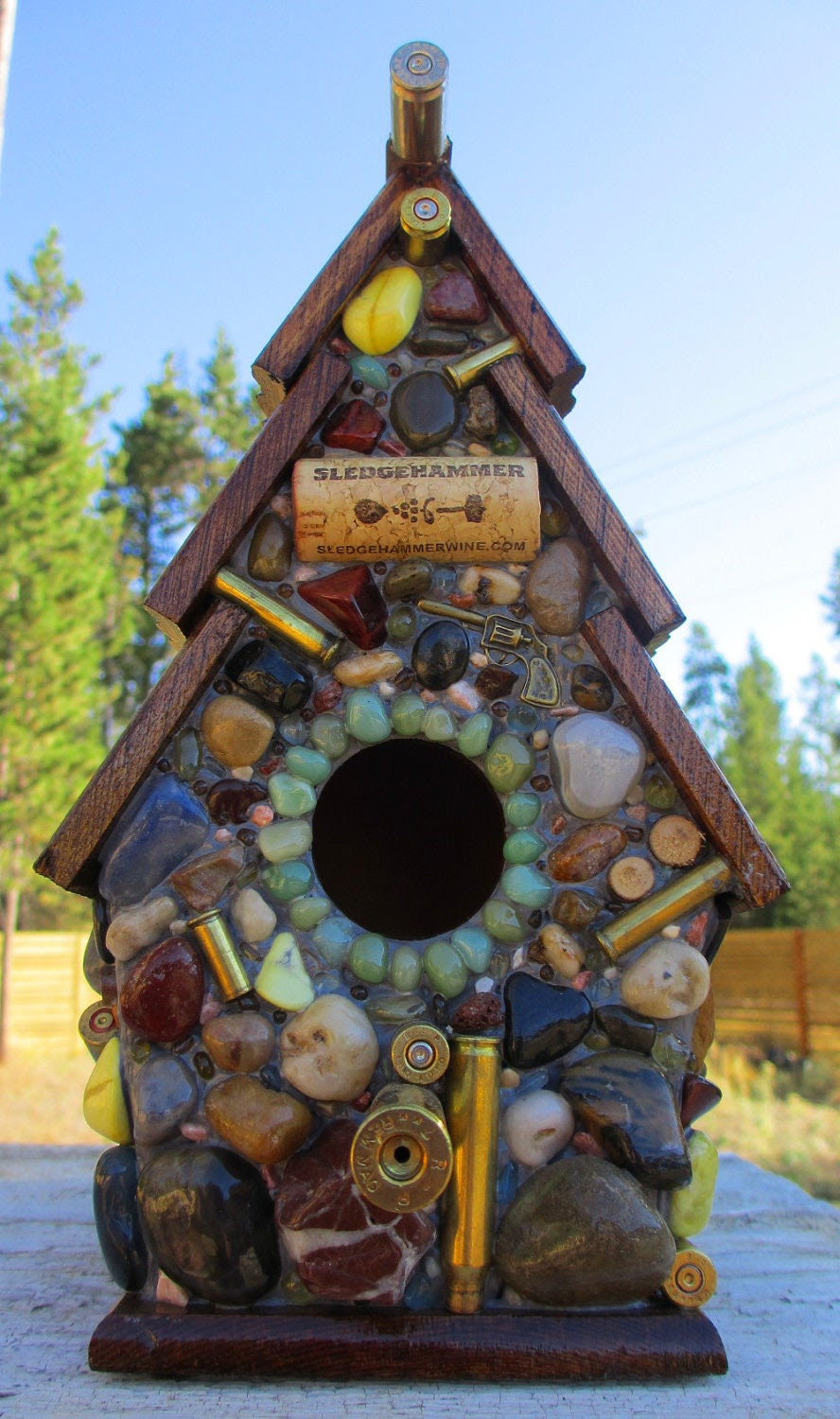 Birdhouse with Recycled Bullet Shell Casings, Wood Rounds and more
