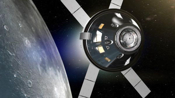 An artist's concept of NASA's Orion spacecraft flying above the Moon.
