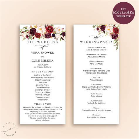 Editable Wedding Program Template, Order Of Ceremony