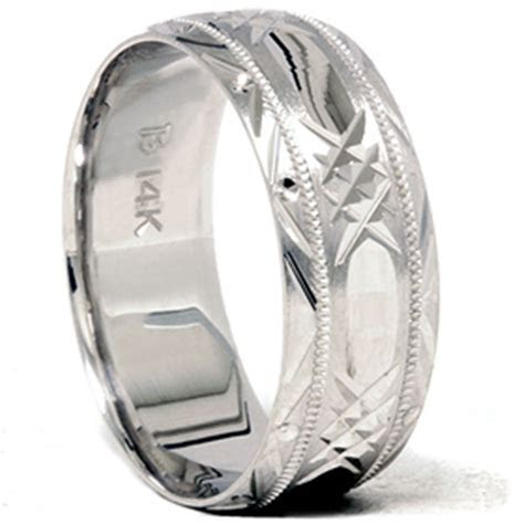 Mens Solid 14K White Gold 8MM Swiss Cut Brushed Wedding