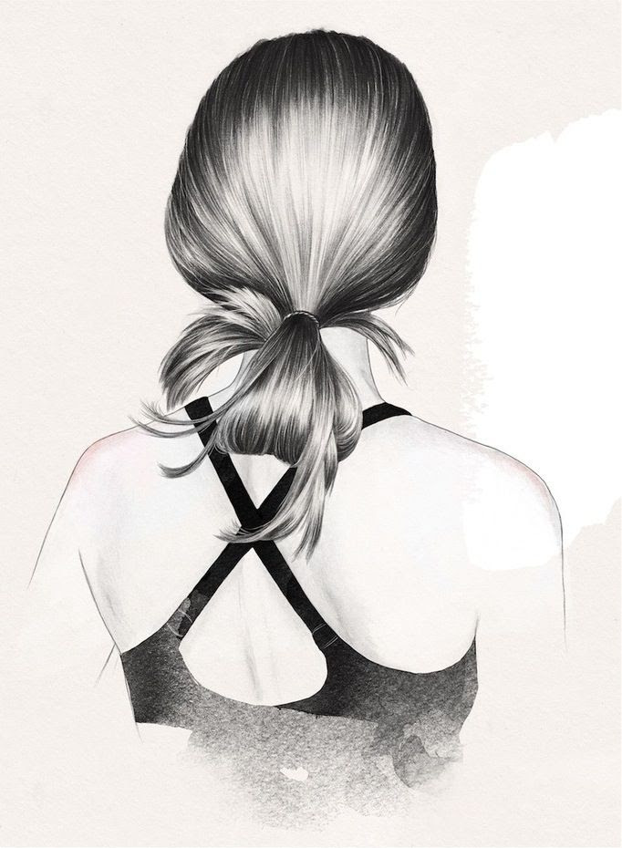 Le Fashion Blog Beauty Post Gym Hair Inspiration Low Loose Bun Ponytail Tie Hairstyle Esra Roise Illustration Via Urban Outfitters