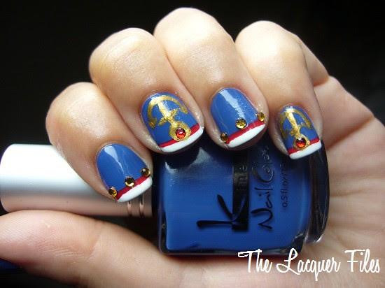 Anchor Mani Nautical Sailor Nail Art Design Rhinestones Kinetics Fashion Blue OPI Red China Glaze White Out