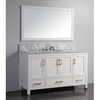 Marble Top 60-inch Single Sink White Bathroom Vanity with ...
