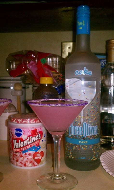 cake vodka, cranberry juice, and champagne with icing and
