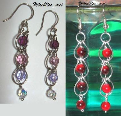 wire wrap earrings with Swarovski crystals