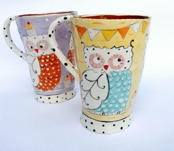 Summery Owl Mug - joyelizabethceramics