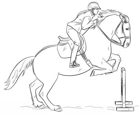 Ausmalbild Springendes Pferd Mit Reiter Ausmalbilder Kostenlos Zum Ausdrucken