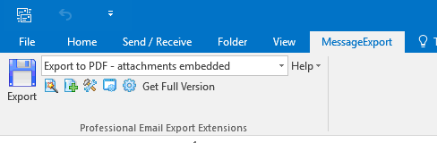 MessageExport toolbar integrated with Outlook 2016.