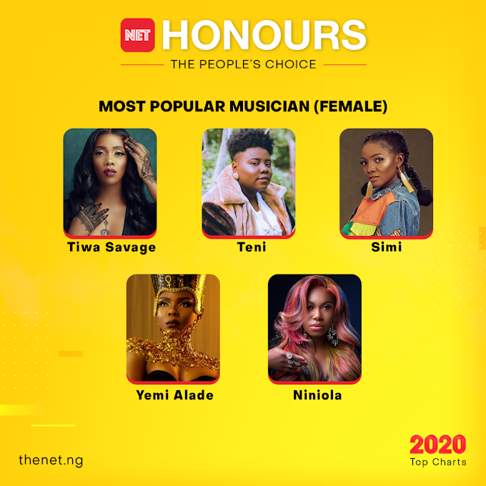 NET Honours 2020: Tiwa Savage, Niniola, Yemi Alade, Others Nominated for 'Most Popular Musician (Female)'
