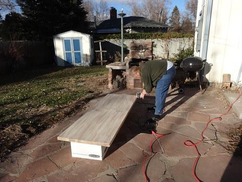 Sanding the countertops