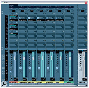 One of the secrets behind the vocal sounds of world‑famous mix engineer Michael Brauer is his unusual parallel compression technique. Here you can see aconfiguration in Cubase that simulates his setup. Five Group channels are fed via post‑fade sends from the 'LV Source' audio track containing the original vocal recording, and each of the Group channels contains acompressor with its own unique sound. The outputs of all these compressors are then mixed to the LV Master Group channel for any further communal insert processing or send effects.