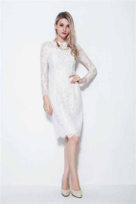 Modest Sleeved Knee Length White Dresses in Full Lace #