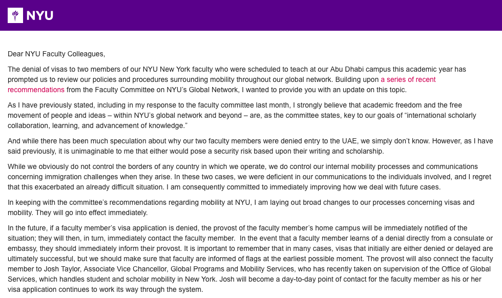Pres Hamilton Admits University Error In Nyu Abu Dhabi