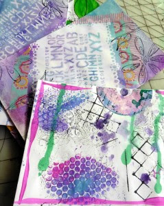 Drips and texture on mail art