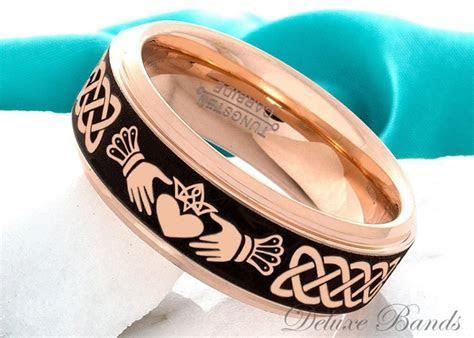 Tungsten Ring Claddagh Ring Mens Womens 8mm Wedding Ring