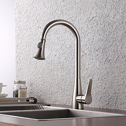 Kes Brass Pull Down Kitchen Faucet Brushed Nickel Modern Single