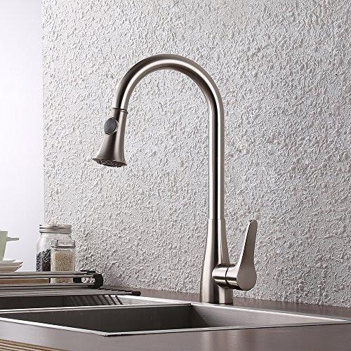 Kes Brass Pull Down Kitchen Faucet Brushed Nickel Modern Single