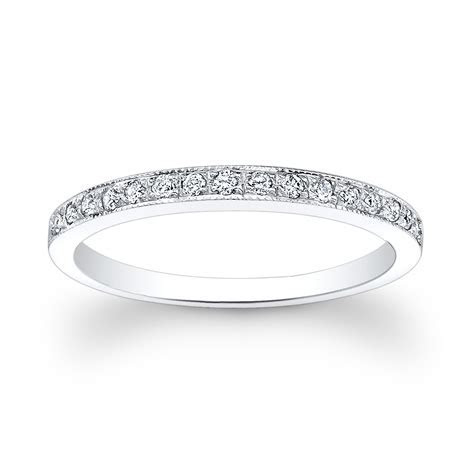 Ladies 18kt thin pave diamond wedding band 0.15 ctw by