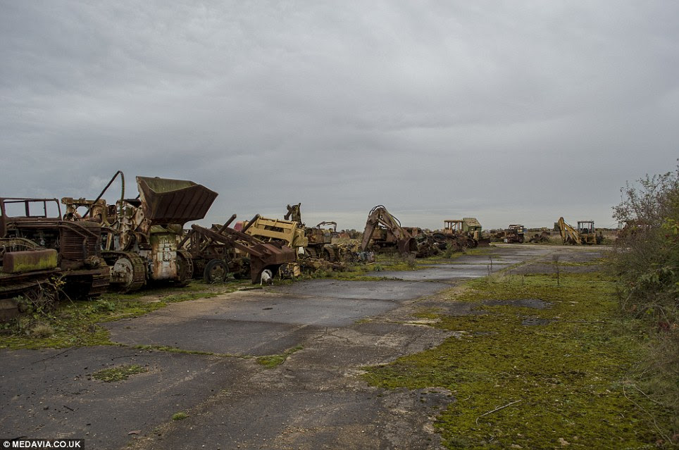 Frozen: These ageing vehicles, some of which helped with the war effort, lay still lined up along the Lincolnshire runway