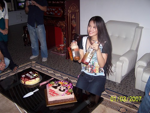 posing with cakes