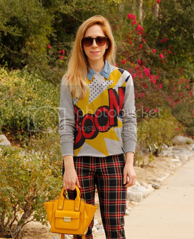 LA fashion blogger The Key To Chic wears a Phillip Lim for Target Boom sweatshirt and mini satchel with Joe Fresh plaid trousers