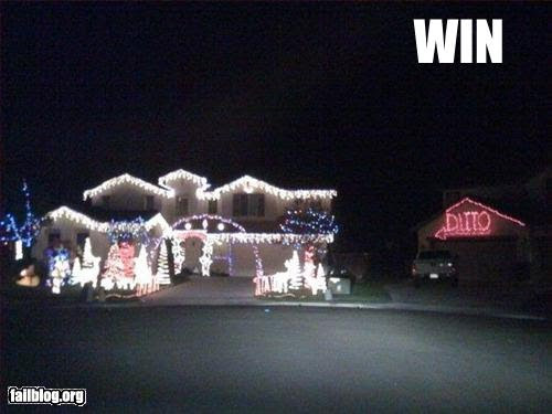 funny photo of a house over-decorated with lights
