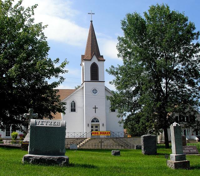 St. Bonifacius Catholic Church -  with Hog Roast Banner
