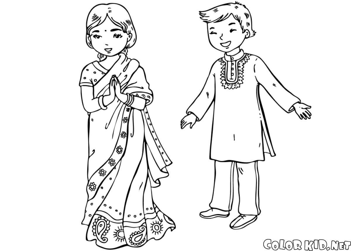 Boyama Sayfası Hintli çocuklar