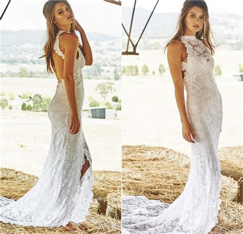 2015, Boho Lace Bohemian Wedding Dresses,Front Split Beach