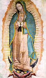 [Foto de la tilma con la imagen de Nuestra Señora de Guadalupe]
