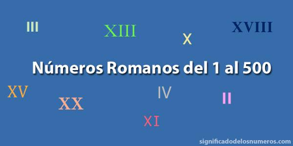 Números Romanos Del 1 Al 500 Numeración Romana Hasta El 500
