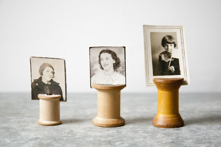 Weekend Project: Vintage Wooden Spool photo holders