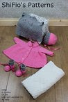 Knitting Pattern - KP68 - baby girls matinee jacket, bonnet, mitts, trousers, booties and blanket - 0-3mths