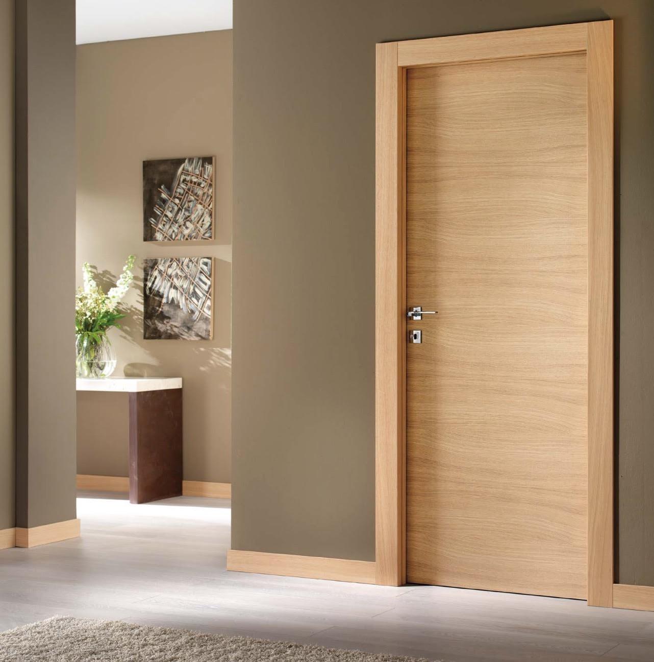 Walnut Veneer Flush Wooden Main Door Design