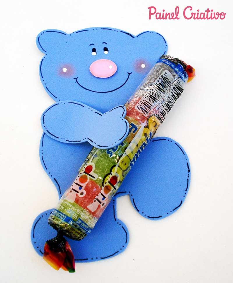 lembrancinha dia das criancas eva ursinho porta pirulito escola artesanato painel criativo 3