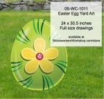 Easter Egg Yard Art Woodworking Pattern - fee plans from WoodworkersWorkshop® Online Store - stripes,flowers,easter eggs,yard art,painting wood crafts,scrollsawing patterns,drawings,plywood,plywoodworking plans,woodworkers projects,workshop blueprints