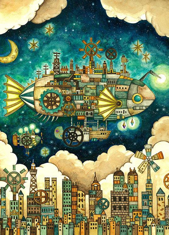 Epo 71 991s 西村典子 Art Puzzle Collection 空想の街 機械仕掛けの空