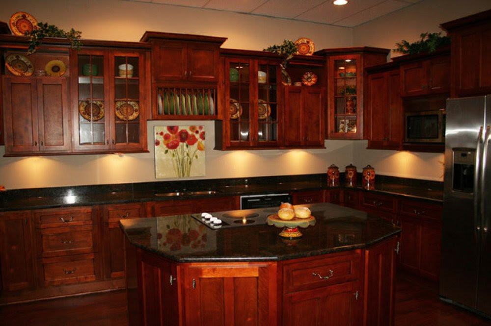 Cherry Cabinets With Black Granite Image Cabinets And Shower