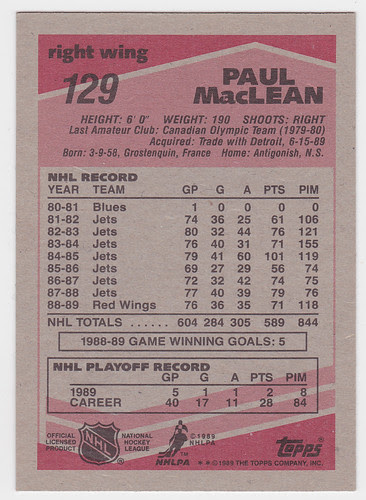 Paul MacLean 1989-90 back