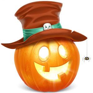 フリー素材 魔女の帽子をかぶったハロウィンかぼちゃのイラスト