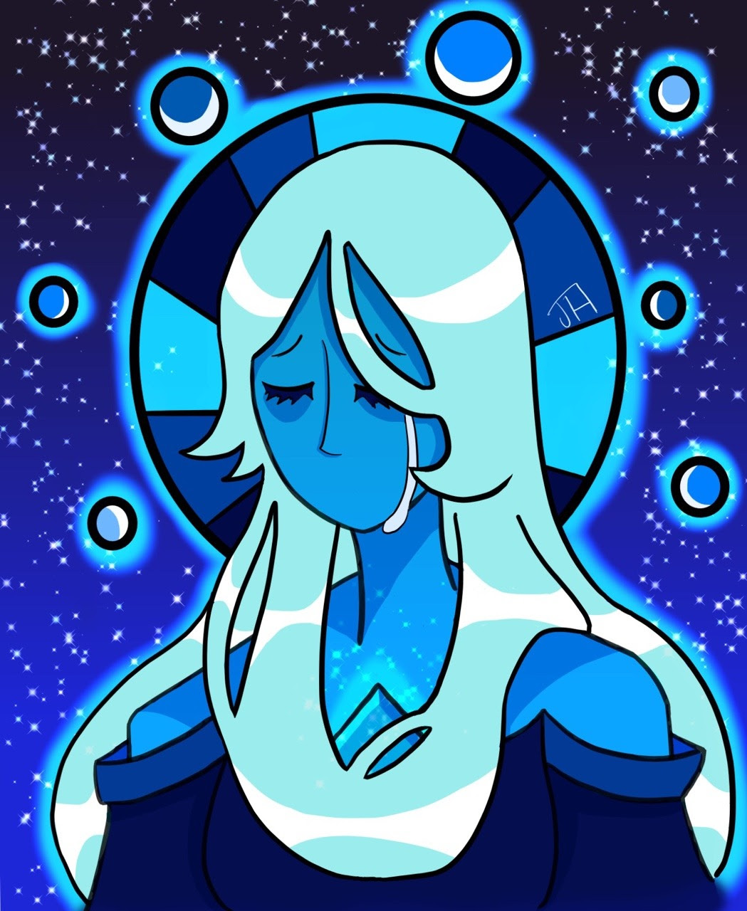 IT'S DONE! BLUE DIAMOND IS SO FUN TO DRAW It took me about 7 hours (wow!) and it's the longest I've ever drawn and it turned out GREAT!!! MediBang kept freezing and I wanted to do a crystal/mirror bg...