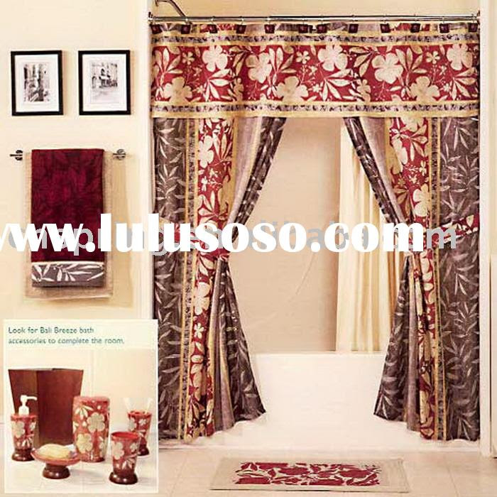 brown double swag shower curtains with valance, brown double swag ...