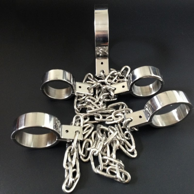Discount  fetish sex tools for sale Collars handcuffs shackled)stainless steel sex BDSM women bondage restrai