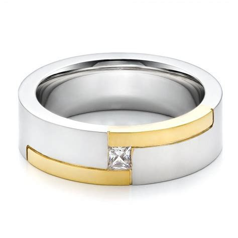 Men's Two Tone and Diamond Wedding Band #100123   Seattle