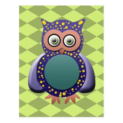 Funky Purple Owl on Green Diamond Pattern Postcard